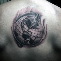 Black and gray style detailed upper back tattoo of big globe