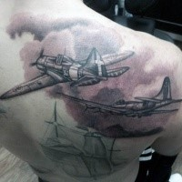 Black and gray style incredible looking shoulder tattoo of old military planes