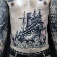 Schwarzer und grauer Stil unglaublich aussehendes Brust Tattoo mit alten Schiff und Wal