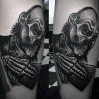 Black and gray style original looking leg tattoo of monster human skeleton