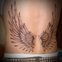 Black and gray style small typical designed angel wings tattoo on waist
