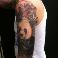 Black and gray style very detailed shoulder tattoo of panda bear in jungle