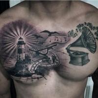 Schwarzweißer farbiger Leuchtturm mit Grammophon und Vögeln