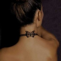 Black and white elegant butterfly tattoo on neck with black ink collar