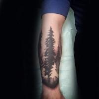 Schwarzweißes Unterarm Tattoo von großen Waldbäumen