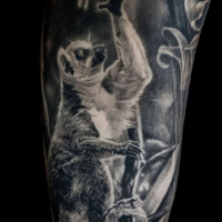 Black and white Lemur tattoo