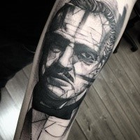 Black and white movie Godfather' portrait with geometrical elements