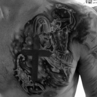 Black and white realistic looking black and white zodiac symbols tattoo on chest