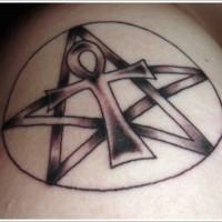 Black ankh symbol tattoo