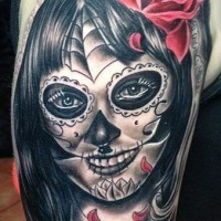 Black creepy santa muerte girl with red rose tattoo