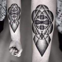 Black dotwork circles geometric forearm tattoo by Kamil Czapiga