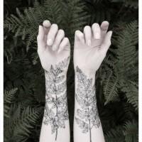 foglie di felce avambraccio tatuaggio per uomo