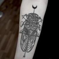Black geometric bug forearm tattoo