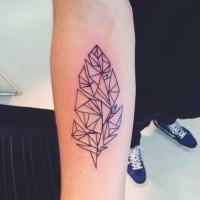 Black geometric forearm tattoo