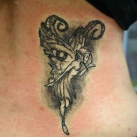 Black gray fairy tattoo on ribs