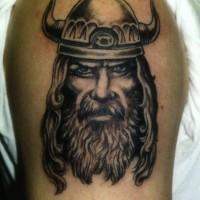 Black gray portrait viking tattoo on half sleeve