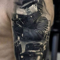 Black grey gangsters and car tattoo for men