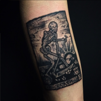 Black ink arm tattoo of Death card with skeleton