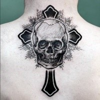 Black ink big very detailed upper back tattoo of human skull and cross