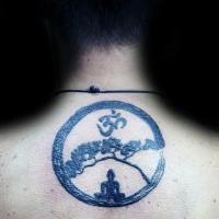 Black ink circle shaped Asian symbol tattoo