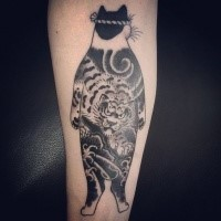 Black ink cool looking arm tattoo of Manmon cat by horitomo