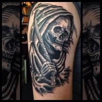 Black ink death tattoo on shoulder by Marie Sena