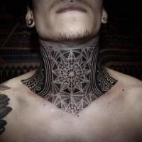 Black ink dot style impressive looking throat tattoo