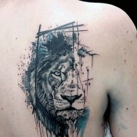 Black ink dot style scapular tattoo of lion portrait