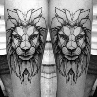 Black ink dot style tattoo of big lion head