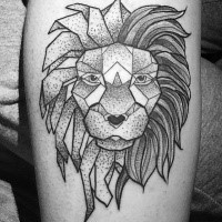 Black ink dot style tattoo of lion head