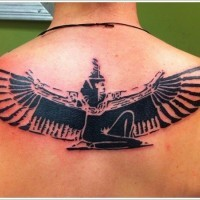 Black ink egyptian deity Isis with wings tattoo