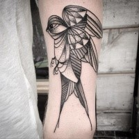 Black ink engraving arm tattoo big bird