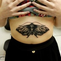 Black ink engraving style belly tattoo of small butterfly