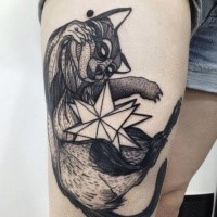 Black ink engraving style thigh tattoo of cool raccoon with star