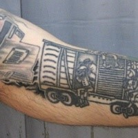 Black ink enormous half sleeve tattoo of train carts
