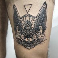 Black ink geometric bat head tattoo