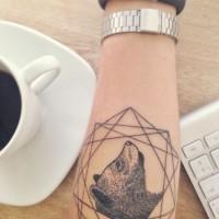 Black ink geometric bear forearm tattoo by Karolina Bebop