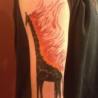 inchiostro nero giraffa con fuoco tatuaggio