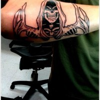 Black ink grim reaper forearm tattoo