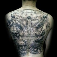 Black ink large whole back tattoo of Vitruvian man with various statues and skull