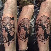 Black ink leg tattoo of funny thugs with lettering