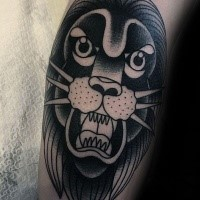Black ink leg tattoo of old school lion
