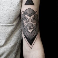 Black ink linework style arm tattoo of lion with triangles