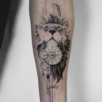 Black ink linework style forearm tattoo of lion with mystical eye