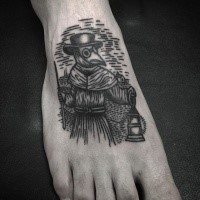Black ink linework style small foot tattoo of plague doctor with gas lamp