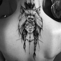 Black ink linework style upper back tattoo of ancient woman with wolf helmet