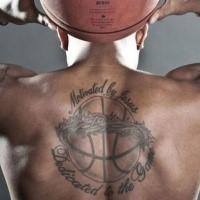 Schwarze Tinte Gedenk Basketball mit Rebe und Schriftzug