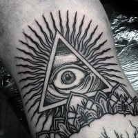 Black ink mystical triangle with eye tattoo