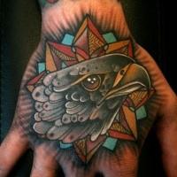 Alzschulstil tinteschwarzer Hand Tattoo des Adlers mit Sterne