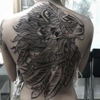 inchiostro nero patchwork leone pieno di schiena